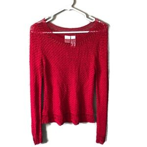 Emma James Red Crochet Style Long Sleeve Blouse